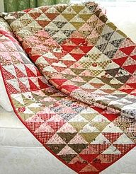 Simple 1/2 square triangles...put the same 4 together makes an fabulous scrappy pattern!