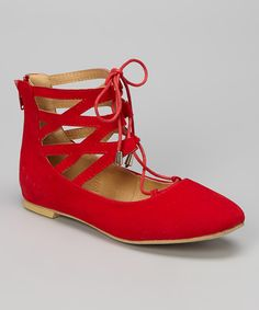 Red Bubble Lace-Up Flat | zulily
