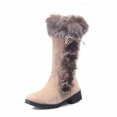 Charm Foot Fashion Faux Fur Low Heel Knee High Snow Boots * Find out more about the great product at the image link.