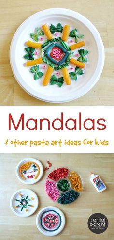 Fun pasta art activities for kids (sculptures, clay, mandalas) plus instructions…
