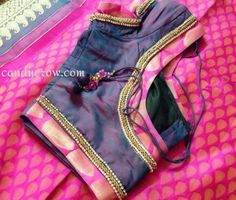As Diwali is coming up and everyone is busy with Diwali Shopping, I thought I will do some post about my Kanchipuram Silk Sarees and Blouse Designs. Here in Chennai many people get Silk saree for Diwali. Choli Designs, Saree Blouse Neck Designs, Simple Blouse Designs, Saree Blouse Patterns, Patch Work Blouse Designs, Sari Bluse, Blouse Models, Blouse Styles, Saree Styles