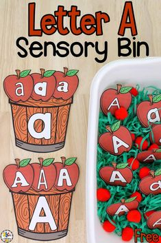 This Letter A Sensory Bin is a fun way for kids to practice identifying and differentiating between lowercase letter a and capital letter A.
