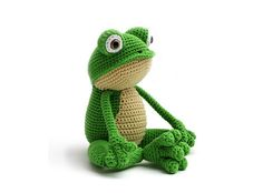 This is Fritz the Frog. He is very flexible (especially his legs) and is fond of yoga. But he also loves to lay down and relax in the grass. Or even better… in your bed!