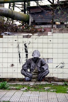 "Levalet - ""Reconstruction"" - for UrbanArt Biennale - Volkinger Hutte, Germany - March 2017 / Photo by the artist"