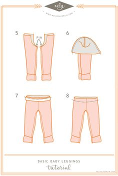 I Still Love You by Melissa Esplin: Baby Leggings Tutorial + PatternThere are a million and a half legging tutorials out there and how to make your own. No joke. The tutorial is illustrated(makes it ea…This is it just what Ive been looking for a tu Sewing Kids Clothes, Sewing For Kids, Baby Sewing, Diy Clothes, Baby Outfits, Kids Outfits, Baby Leggings Pattern, Couture Bb, Textiles Y Moda