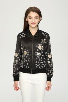 $65 - A Hippie Style Bomber Jacket is Available Now at Pasaboho. Free Spirit hippie girls sharing woman outfit ideas. bohemian clothes, cute dresses and skirts. Fashion trend and styles from hippie chic, modern vintage, gypsy style, boho chic, hmong ethnic, street style, geometric and floral outfits.  We Love boho style and embroidery stitches.