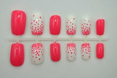 Coral Nails with white accent