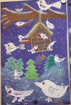 With us on the hill: School Aa School, School Clubs, Winter Jokes, Group Art Projects, Bird Art, Art For Kids, Pastel, Kids Rugs, Birds
