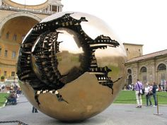 """(Safer con Sfera - """"Sphere within a Sphere)"""" ... Spinning Globe at Vatican Museum ... Vatican City"""