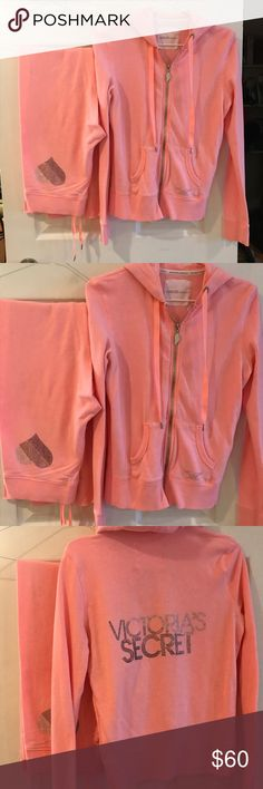 Victoria's Secret fashion show collection Tracksuit. Bottoms are a size XS. Sweatshirt is a size S. only worn once. Brand New condition Victoria's Secret Pants Track Pants & Joggers