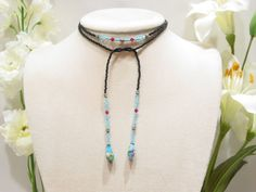MARKDOWN - Swarovski Crystal glass seed bead lariat necklace, black, blue, L3. $ 40.00, via Etsy.