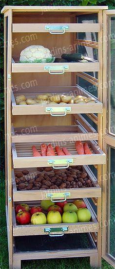 petit meuble rangement pour fruits et l gumes caisse en bois sur roulettes vue chez cdiscount. Black Bedroom Furniture Sets. Home Design Ideas