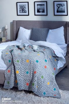 Pin Point Crochet Blanket | Free Pattern | Caron One Pound | Gray Matters