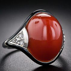 Art Deco Coral Diamond Ring - Categoria: Anéis - AJU