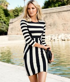 Black & white striped fitted dress (optical illusion effect)