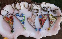 My Sweet Savannah: ~monday giveaway day~ made out of upcycled cut out tin with a denim backing sewn on. Heart Jewelry, Clay Jewelry, Metal Jewelry, Jewelry Crafts, Jewelry Art, Beaded Jewelry, Jewellery, Heart Necklaces, Rustic Jewelry