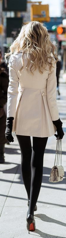 Christian Louboutin cute and simple leggings black heels white coat