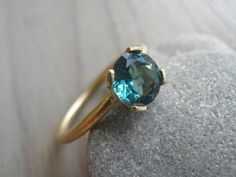 Engagement Tourmaline Ring, 18K yellow Gold Ring, ocean Green Tourmaline, Vintage Inspired Classic ring $780.00