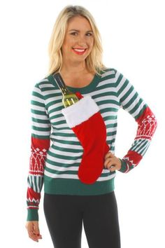 Ugly Christmas Sweater - Who needs a mantel when you can hang your stocking on your sweater?! Stuff it with a bottle of wine and some chocolates and your holiday party just got that much better. Purchase it here.