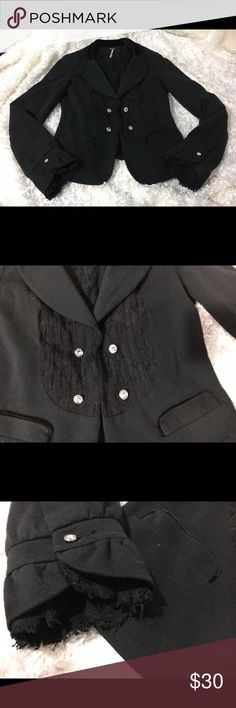 Free People Embellished Jacket Size Small Gorgeous jacket with multiple textured fabric. It has velvet and lace. Free People Jackets & Coats Blazers