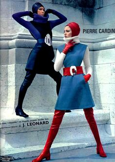 Photo 21:Pierre Cardin 1968. 1960's fashion. Inspried by the first mood landing of human in history in 1969. His design bring futuristic trend in to 1960s fashion. The models look absolute amazing with the dress, the belt and the collar. It is very morden actually