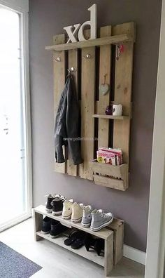 Pallet shoe rack and wall hanger is simple craft that can be crafted by your own. Its simple and smooth structure is making it more alluring. It is spacious craft. It has enough space to have coat, shoes, keys, books or other important item.