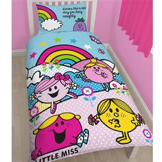 Mr Men Little Miss Rainbow Single Size Doona Quilt cover Set.  Available at Kids Mega Mart online Shop Australia www.kidsmegamart.com.au