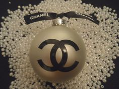 SAVE 10% THIS WEEKEND ONLY STARTS FRIDAY USE CODE HOLIDAY AT CHECKOUT! CHANEL INSPIRED PEARL WHITE CHRISTMAS TREE ORNAMENT BLACK CC CHANEL RIBBON 3