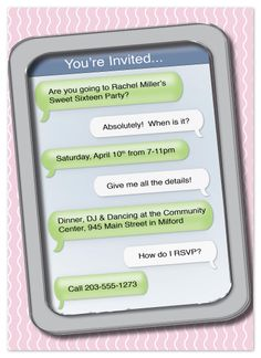 Printable cell phone text message birthday invitation iphone sweet 16 invites text me stopboris Image collections