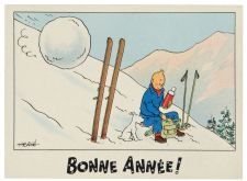 Carte bonne année -Tintin