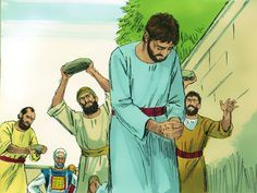 Free Bible images: Free Bible illustrations at Free Bible images of Stephen being chosen as one of seven deacons and later being stoned to death for speaking about Jesus. (Acts 6-7)