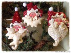 noel 3 stuffed santa claus faces sewing idea Christmas Santa holiday craft handmade