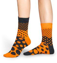 """Divided Dots"" Unisex Socks by HAPPY SOCKS   Colours: Grey, Orange   Size: 36-40 (women) & 41-46 (men)   Composition: 80% Combed Cotton, 17% Polyamide, 3% Elastane   SKU: DI01-401   SOURCE: http://www.happysocks.com/eu/divided-dots-sock-153.html"