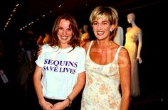this young woman was part in the Princess's dress auction which was held in New York to raise money for the Aids & Cancer patients, on 1997. Notice her blouse 'Sequins Save Lives'.......means buy Diana's clothes!