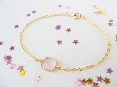 Pink bracelet. Blush bracelet. Bridesmaids by 53Countesses on Etsy