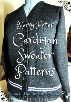 FREE Harry Potter cardigan sweater patterns from Miss Xsmall 4 to a size Sim. FREE Harry Potter cardigan sweater patterns from Miss Xsmall 4 to a size Similar in style to the cardigans sold in o. Harry Potter Cardigan, Harry Potter Sweater, Harry Potter Crochet, Jumper Patterns, Sweater Knitting Patterns, Knit Patterns, Knitting Sweaters, Knitting For Kids, Knitting Projects