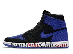 separation shoes 8c5f3 2f601 Homme Air Jordan 1 Retro High Flyknit Chaussures Nike Jordan Pas Cher Bleu  Noir 919704-