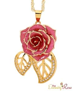 Free Shipping! Luxurious pendant created from pink natural miniature rose petals trimmed with purest 24 karat gold. Incorporates 30 Brilliant synthetic diamonds!