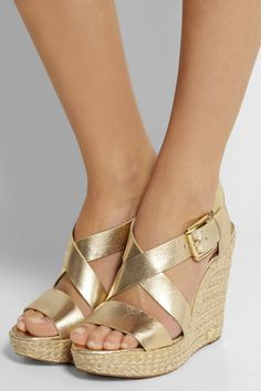 MICHAEL Michael Kors | Giovanna metallic leather espadrille wedge sandals | NET-A-PORTER.COM