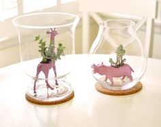 DIY Succulent Animal Planters :: Just use any thrifted plastic animals (make sure they're hollow!) & cut a hole out of the top (or use a soldering tool) then fill w/ your dirt & succulents! You can paint them too...just wait a day for the spray paint to completely dry before planting.