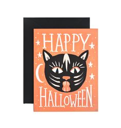 Black Cat Halloween Available as a Single Folded Card or a Boxed Set of 8