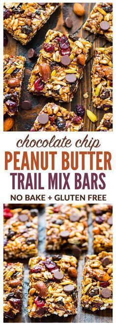Chewy Trail Mix Peanut Butter Granola Bars with chocolate chips, oatmeal, and honey. Sweet, salty, and NO BAKE! Simple recipe that's perfect for healthy breakfasts and healthy snacks. {gluten free, dairy free, vegan, high protein} Recipe at http://wellplated.com | @wellplated