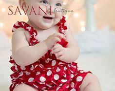 2 pieces Christmas red and white  Petti Romper Set. Lace Petti Romper , headband and romper, Baby Girl Photo Prop