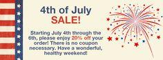 Wholistic Pet Organics 4th of July Savings Event! #nocoupon #savings 20% off! #holistic #dog #cat
