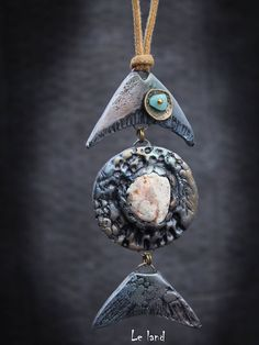 Long fish necklace fish jewelry boho chic jewelry fish pendant birthday gift for her summer Boho Necklace beach jewelry This long fish necklace made of polymer clay, It is covered with pearlescent shades. I used real sea stone for decor this beautiful fish. The necklace is hangs on a