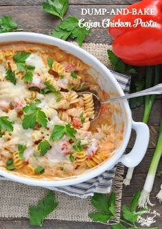With just 10 minutes of prep, you can serve an easy, one-dish dinner! You don't even have to boil the noodles for this Dump-and-Bake Cajun Chicken Pasta!