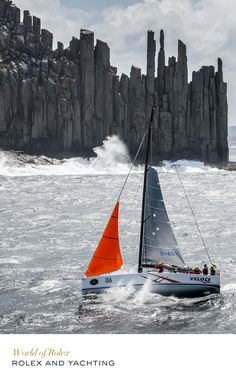 Veloce, under triple reef & storm jib, battling high winds & heavy seas in the Rolex Sydney Hobart Yacht Race