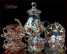 """Bohemian Crystal Tea Set """"Versal"""" Rubin 14 pc New! Bohemia Crystal, Tea Cup Set, Tea Sets, Buy Tea, Teapots And Cups, Teacups, Tea Service, Cupping Set, Gems And Minerals"""
