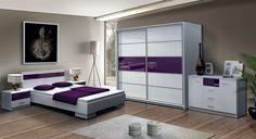 Dubaj hálószoba Modern, fiatalos elemes hálószoba fekete/fehér és fehér/lila kombinációban