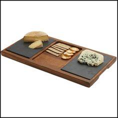 Acacia Wood Slate Cheese Board, 20-Inch